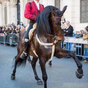 Il pluricampione di dressage Andrea Giovannini durante la sfilata del Corteo Equestre Rinascimentale a Piazza Navona in occasione dell'ottava edizione del Carnevale Romano