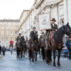 Una rappresentaza dei Butteri ha partecipato alla sfilata del Corteo Equestre Rinascimentale a Piazza Navona in occasione dell'ottava edizione del Carnevale Romano